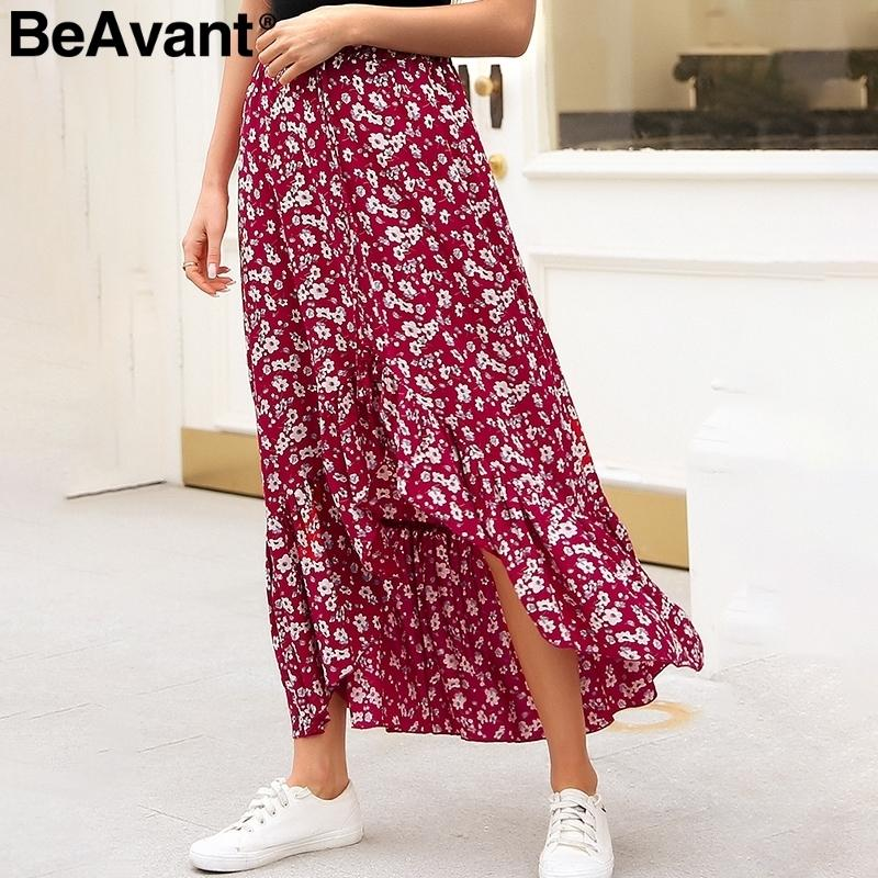 065fc5731 2019 Beavant High Waist Mermaid Long Women Boho Floral Print Summer Female Tie  Up Button Red Beach Skirts C19041701 From Shen07, $18.78 | DHgate.Com