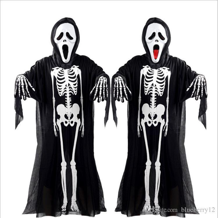 Nice Pop Pop Halloween Cosplay Skeleton Unisex Suit Human Skeleton Pattern Costume  Halloween Scare Performance Clothes Wear Mask Suit Adults Kid Halloween ...