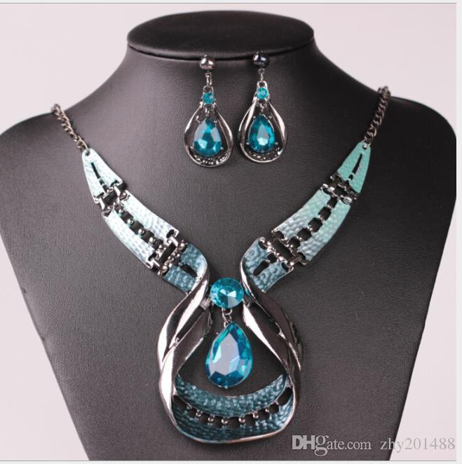 Droplet exaggerated Necklace personality bagel Earrings Jewelry suit