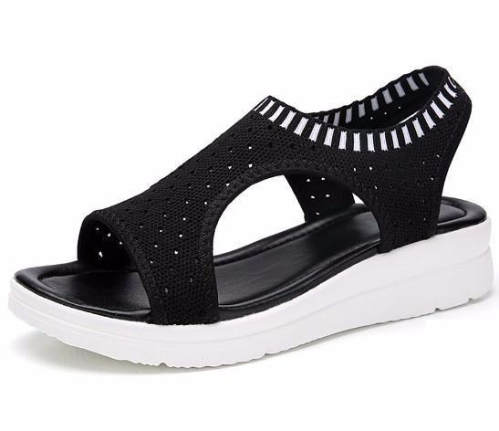 2019 Para Compras Sandalias Zapatos Sandalia De Mujer Comodidad Caminar Negro Moda Transpirable Señoras Plataforma Verano PXOZiuTk
