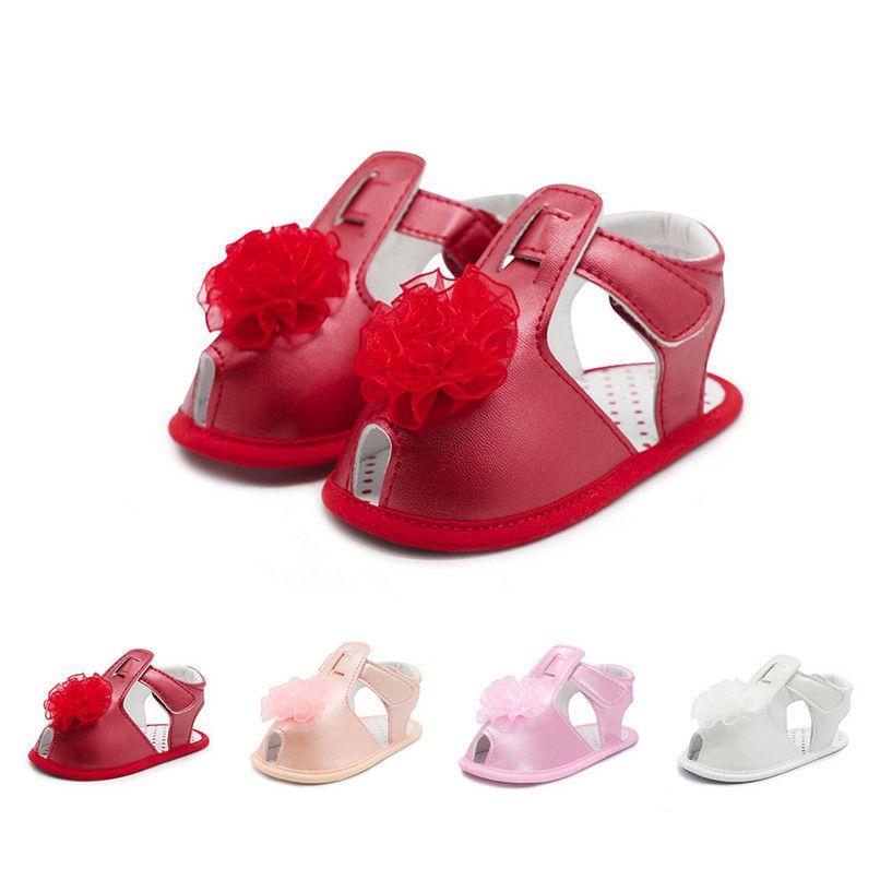 1a93a098c Compre Zapatos De Bebé De Verano Niñas Niño Recién Nacido Bebé Niñas  Sólidas Sandalias De Flores Suela Suave Zapatos Antideslizantes Niños Chica  Sandalia ...