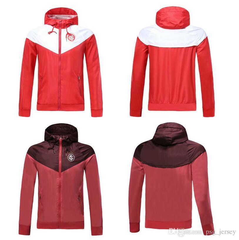 TOP 19 20 rojo Brasil Internacional con capucha sombrero chaqueta 18 19 chándal Survetements Damiao Silva D Alessandro hombre adulto campeón Maillot