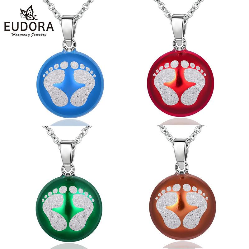 wholesale New 20mm Baby Footprints Necklace Pregnancy Chime Ball Harmony Bola Pendants Fashion Women Jewelry Christmas Gift N14B224