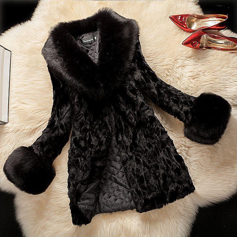 9d90017e02 Faux Fur Coat for Women Rabbit Fur Winter Slim Warm Thick Outerwear ...