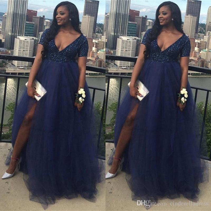 Navy Blue Plus Size African Split Prom Dresses 2K19 Beaded Top Tulle Skirt  A Line V Neck Evening Gowns Maternity Vestidos BC1848