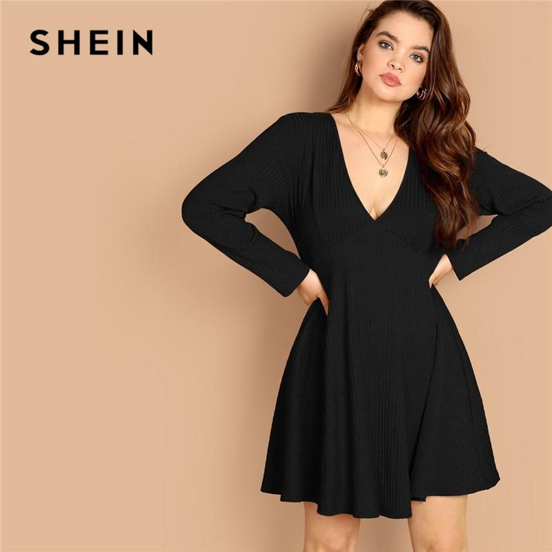 cb68e0933b SHEIN Black Plus Size Sexy Deep V Neck Rib Knit High Waist Dress Women  Spring Autumn Long Sleeve Flared Hem A Line Party Dresses Petite Cocktail  Dresses Red ...