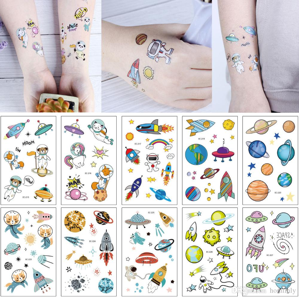 Original Cartoon Universe Space Series Temporary Tattoo Sticker for Kids Cute Cat Unicorn Astronaut Body Makeup Funny Tattoo Hand Arm Design