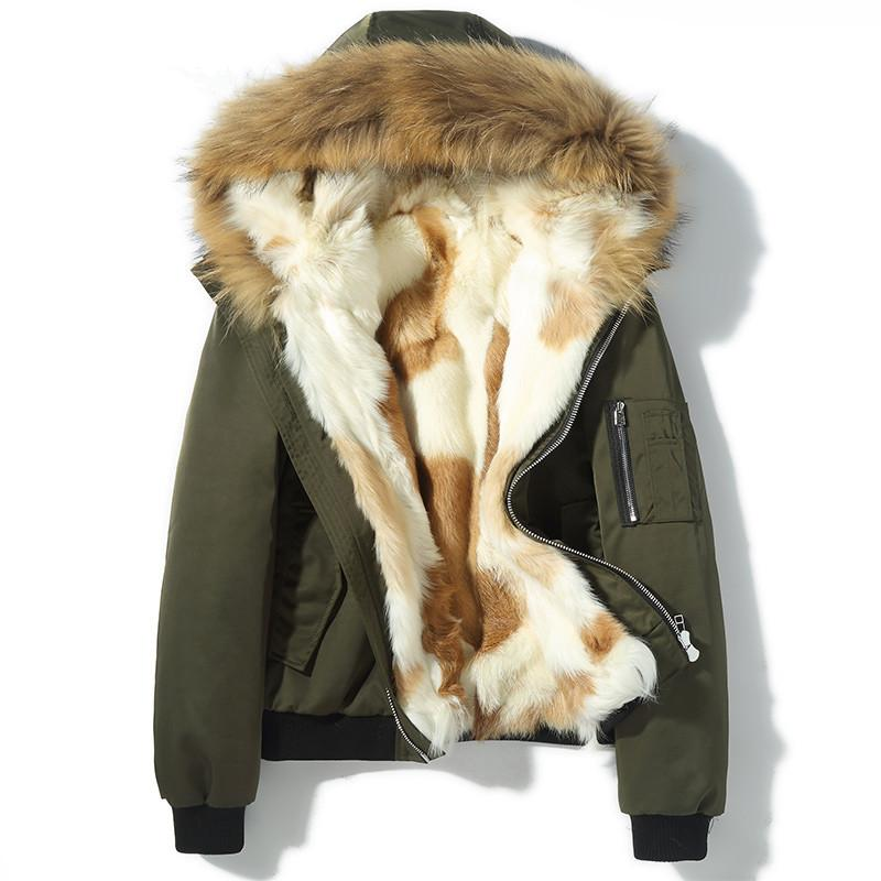 86aad8159ee3 2019 Real Fur Coat Men S Winter Jacket Natural Wolf Fur Liner Parka Men  Raccoon Collar Warm Parkas Manteau Homme Hiver MY1834 From Cute08