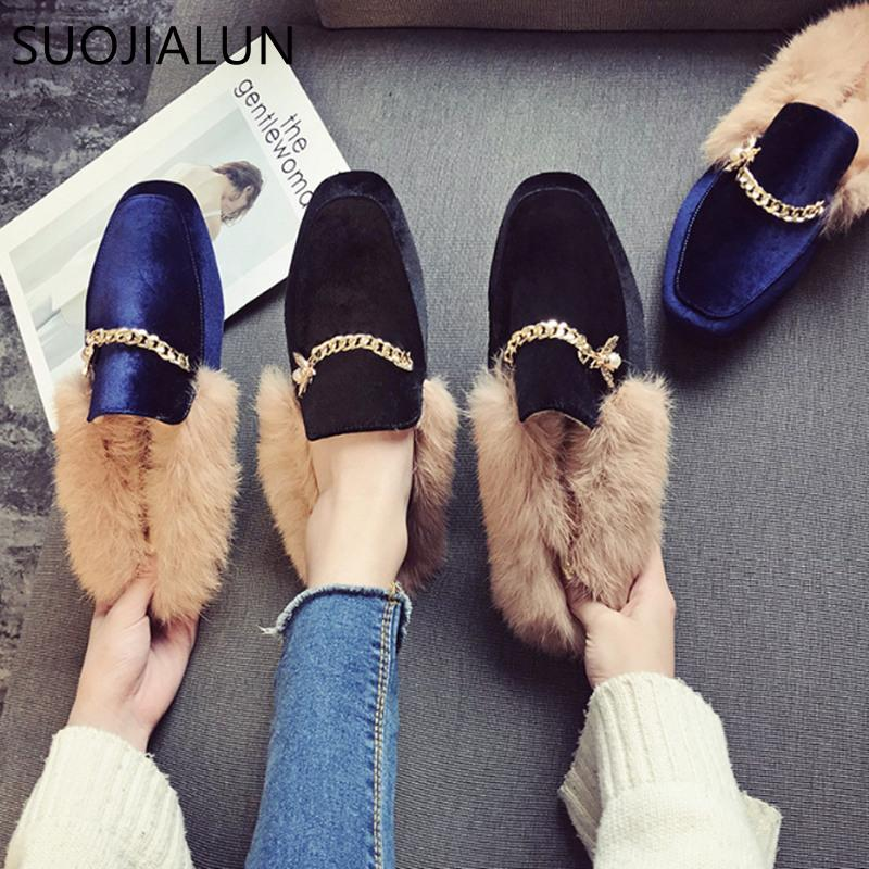 6f6a6b72b7a SUOJIALUN Women Fur Slippers Warm Plush Home Slippers Women Flat Casual  Shoes Fashion Chain Outdoor Slides Slip On Mule White Mountain Shoes  Sneakers From ...