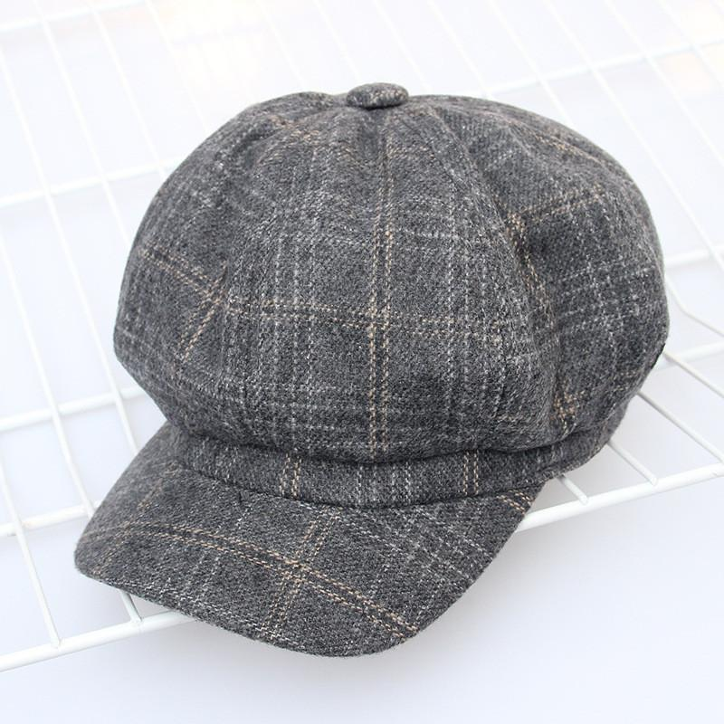 c40187b92 Wool Cotton Retro Elegant Autumn Winter Female Beret Plaid Design Woman  Octagonal Cap Hats Stylish for Girl Artist Women's Hat