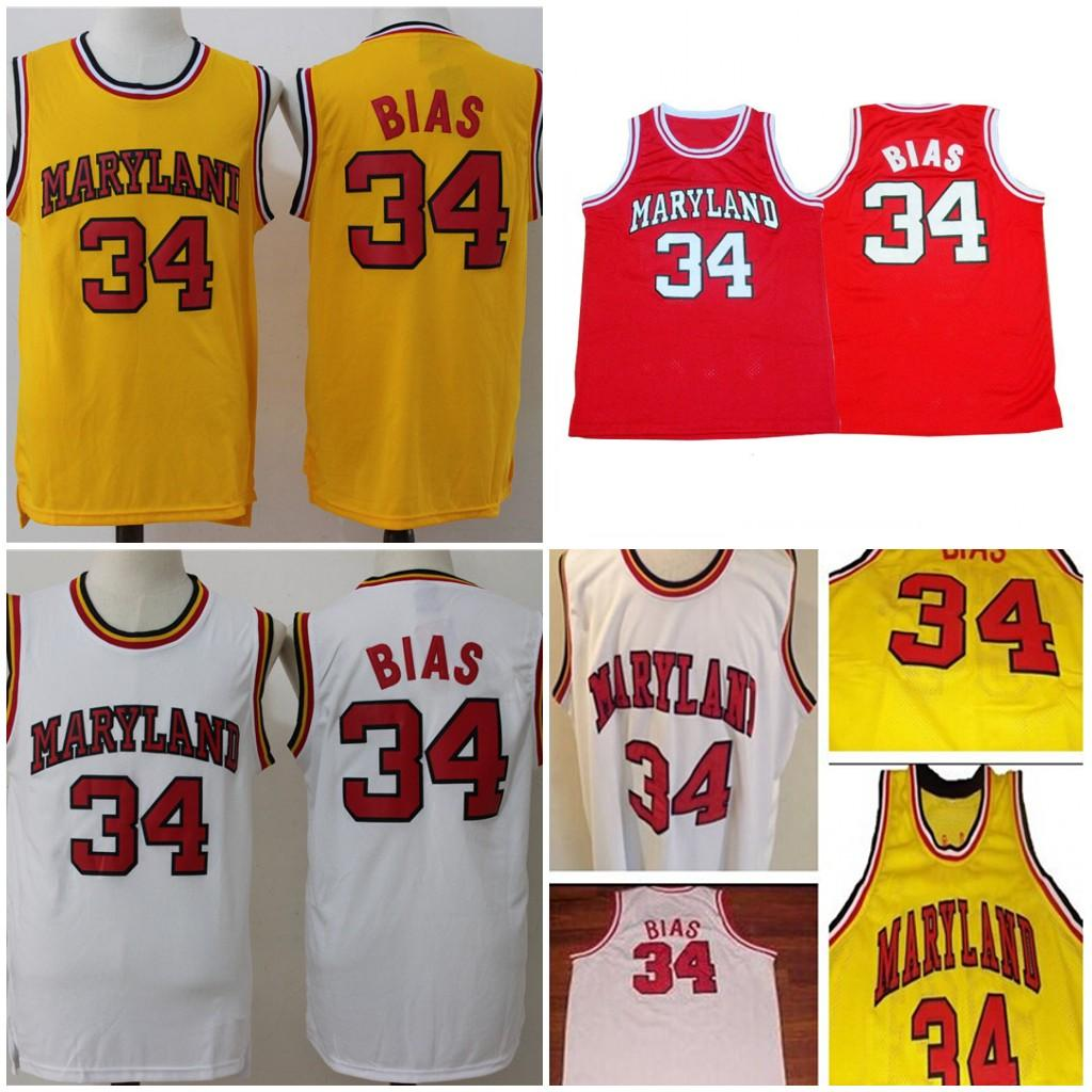 2871a1c3414 2019 34 Len Bias NCAA Men Basketball University 1985 Maryland Terps College  Breathable Jerseys Sport Red Yellow White S XXL From Vivavilla