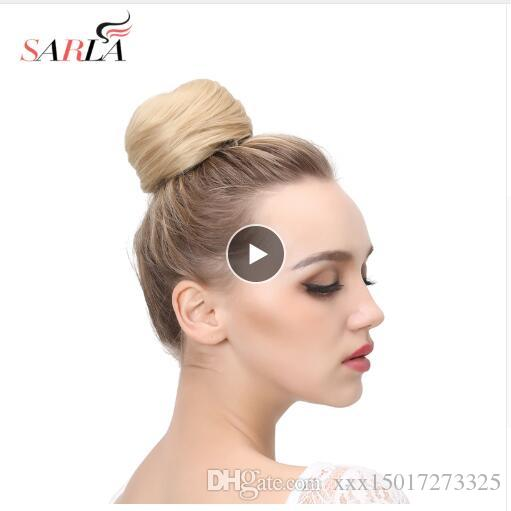 Fake Hair Bun Extension Clip in Synthetic Donut Postiche Cheveux Drawstring Chignon Hairpiece Updo Hair Piece para mujeres Q3
