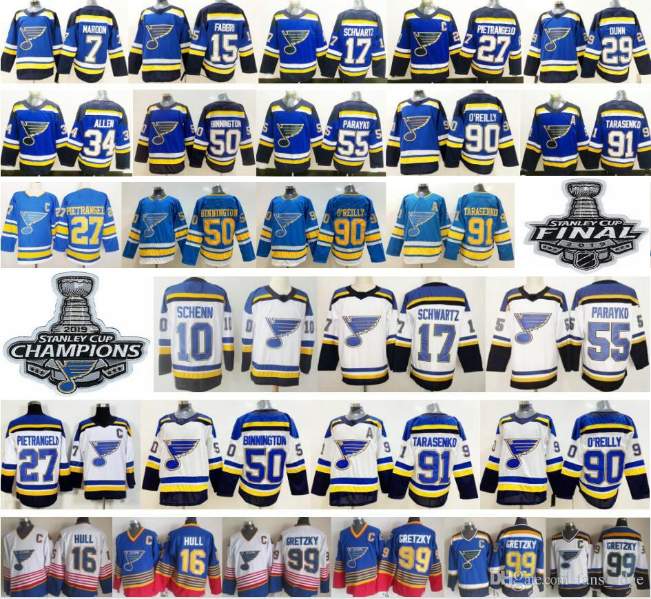2019 New St. Louis Blues 27 Alex Pietrangelo 10 Schenn Jaden Schwartz Jake Allen 50 Binnington 7 Maroon 91 Vladimir 90 Ryan O'Reilly Jersey