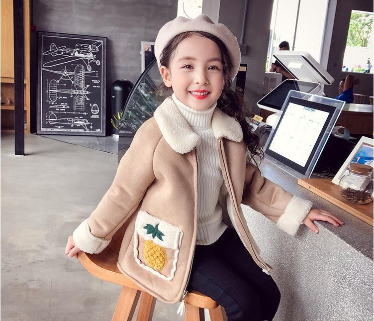 31243e1d5 WLG Girls Winter Thick Coats Kids Khaki Pink Strawberry Zipper Long ...