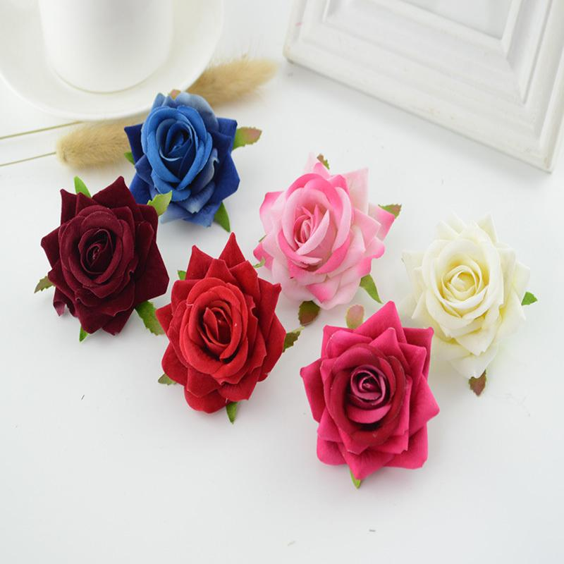 100pcs High Quality Silk Roses 6cm Home Wedding Decoration Bridal  Accessories Clearance For Scrapbooking Diy Artificial Flowers