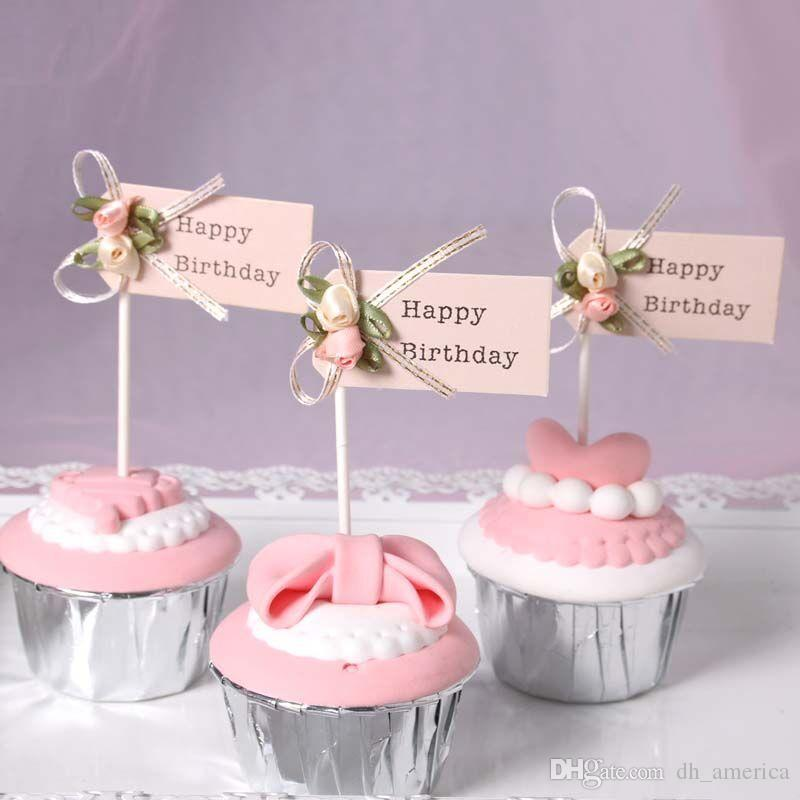 Fashion Bow Knot Cupcake Decor Happy Birthday Letter Cake Card Top Quality Birthday Party Supplies for Baby Girls