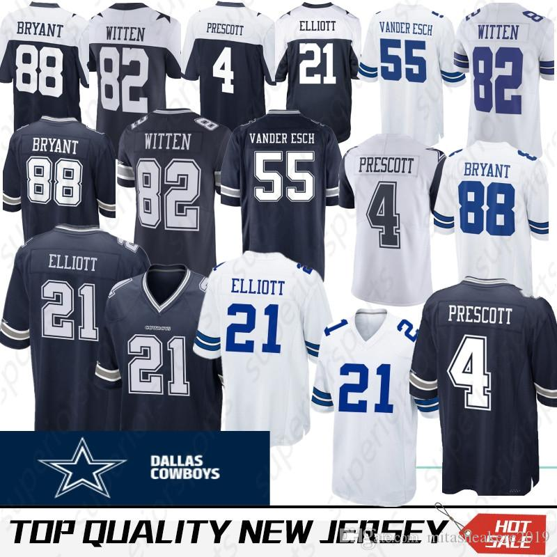 69f46b777 2019 Top Quality Dallas 55 Leighton Vander Esch Cowboys Jersey 4 Dak  Prescott 21 Ezekiel Elliott 22 Emmitt Smith 88 Dez Bryant 90 DeMarcus From  Noblesports, ...