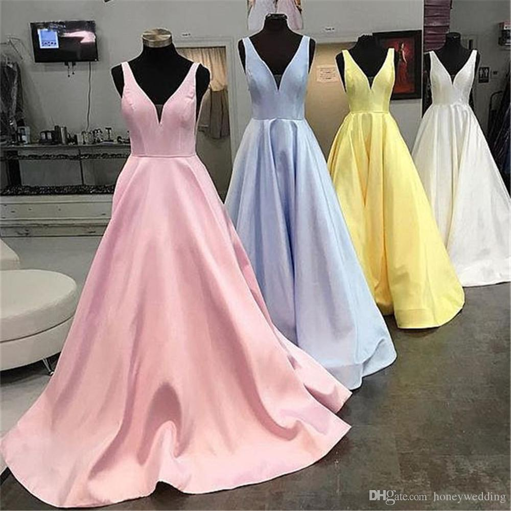 Mint Blue Satin Prom Dresses Floor Length A Line V Neck Formal Evening Gowns 2019 Custom Made Pink Party Dress Cheap Prom Gown