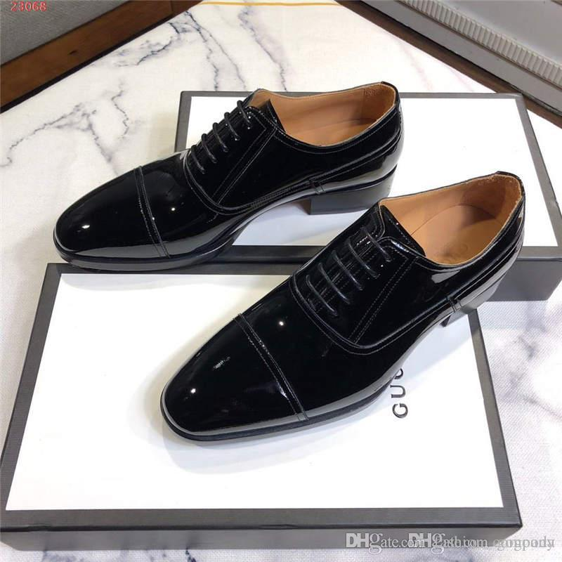 2019 new European and american style Black matte cowhide shoes for men High-end custom With air holes Wedding dress shoes