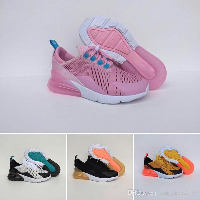Nike air max 270 CALIENTE 2019 de alta calidad para niños zapatos para correr rosa blanco polvoriento Cactus al aire libre niño deportes atléticos TN
