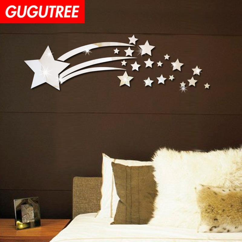 Decorate Home 3D star mirror art wall sticker decoration Decals mural painting Removable Decor Wallpaper G-208