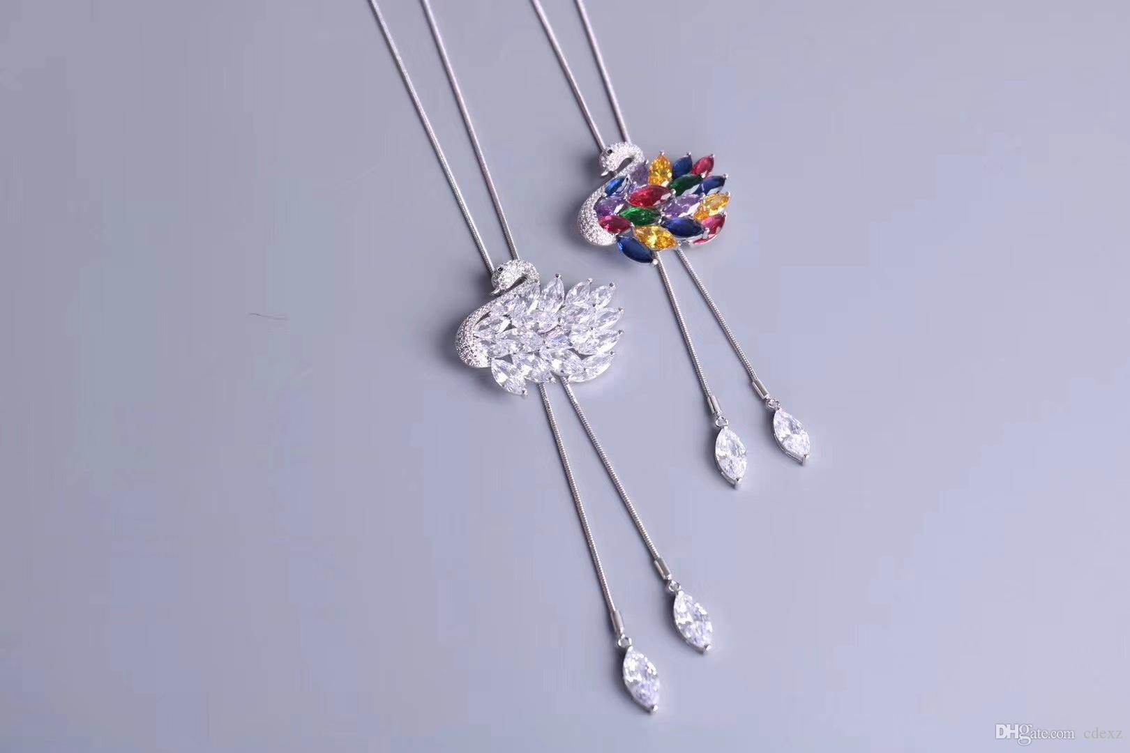 Кристаллы форма Swarovski корейское издание Белый лебедь высококачественный брошь свитер цепи длинный участок ожерелье одежда украшение выбор для леди