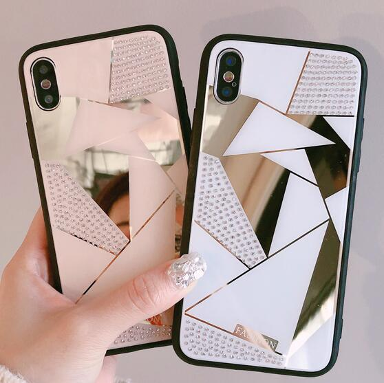 Luxury Designer Diamond Fashion Mirror Case Cover for IPhone X XS MAX XR 8 6 6S 7 Plus I Phone 8plus 7plus Skin Covers Coque New