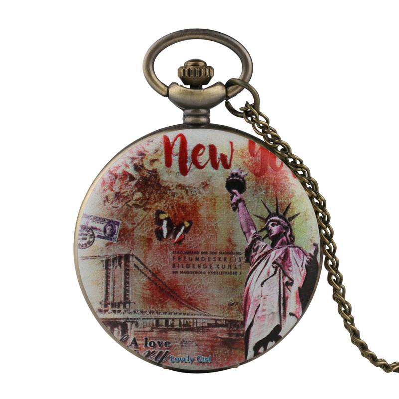 0ab01d53496 Compre Relógio De Parede Relógio De Bolso Dos Homens Estátua Da Liberdade  Padrão De Relógio De Bolso Para Menino Árabe Digital Dos Homens Do Vintage  De ...