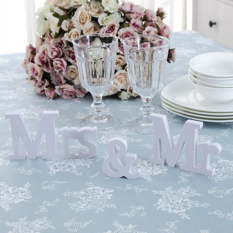 3 unids / set decoraciones de la boda Mr Mrs Mariage Decor decoraciones de la fiesta de cumpleaños letras blancas signo de la boda