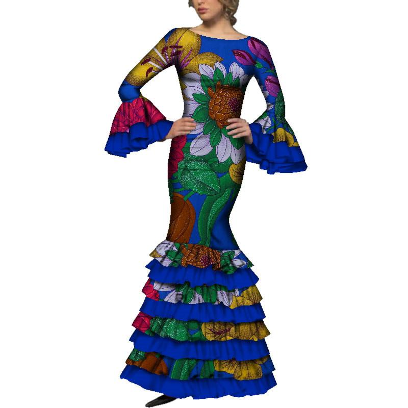 fe3be073b8 2019 African Dresses For Women Long Flare Sleeve Lady Elegant Bodycon  Wedding Party Dress African Print Cotton Clothes WY3557 Black Ladies Dress  Ladies ...
