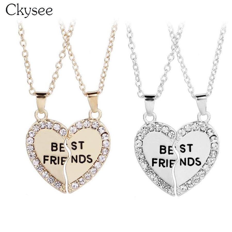 991694a1a611 Wholesale Ckysee Gold Silver Color Heart Shaped Necklace With Crystal Best  Friends Broken Heart Necklace Friendship Jewelry Gift Gold Name Necklace  Mens ...