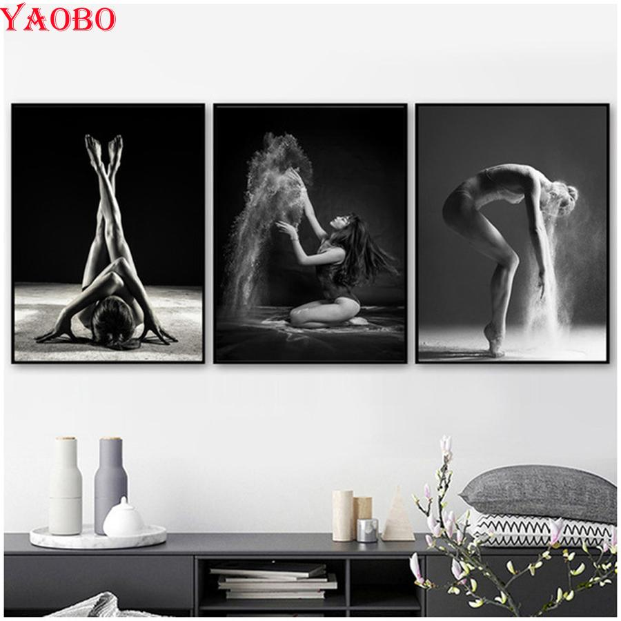 3pcs Full Square Round Diamond Embroidery Sexy Dancing Girl 5d Diy Diamond Painting Cross Stitch Kit Mosaic picture Wall Sticker