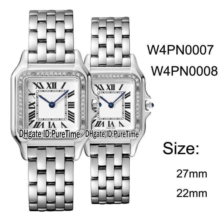 more photos fde12 b162c New W4PN0007 W4PN0008 Steel Case Diamond Bezel 27mm/22mm White Dial Swiss  Quartz Womens Watch Ladies Stainless Steel Watches CART- B25g7