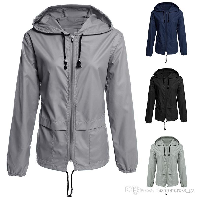 d5b324b7c0403e Outdoor Hooded Coats Zipper Waterproof Jackets Women Rain Coat With Hooded  S M L XL XXL Ladies Lightweight Travel Raincoats Jackets On Sale Jackets  For Sale ...
