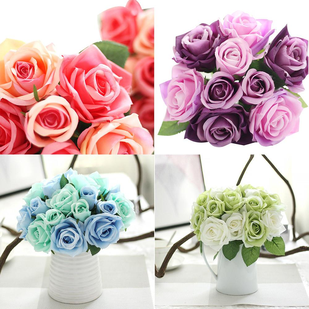 9 Heads Artificial Silk Fake Flowers Leaf Rose Wedding spring decoration Floral Decor Bouquet wedding flowers