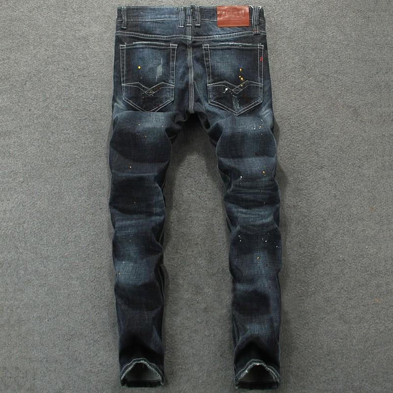 4f2d3ada025 Europe Station Trend Man Jeans Retro Do Used Dark Color Hole Youth ...