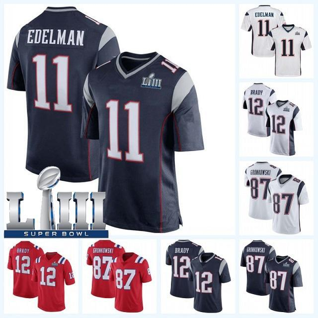 ebb02ea88fa 2019 12 Tom Brady 2019 New Patriots 87 Rob Gronkowski 11 Julian Edelman 10  Josh Gordon 14 Braxton Berrios Super Bowl LIII Football Jersey From ...