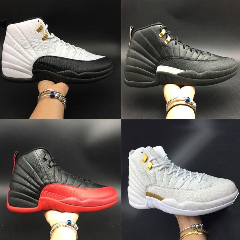 Zapatillas de baloncesto TOP de lujo 12s Fibra de carbono real El juego principal de la gripe Taxi Zapatillas deportivas deportivas para hombre blanco