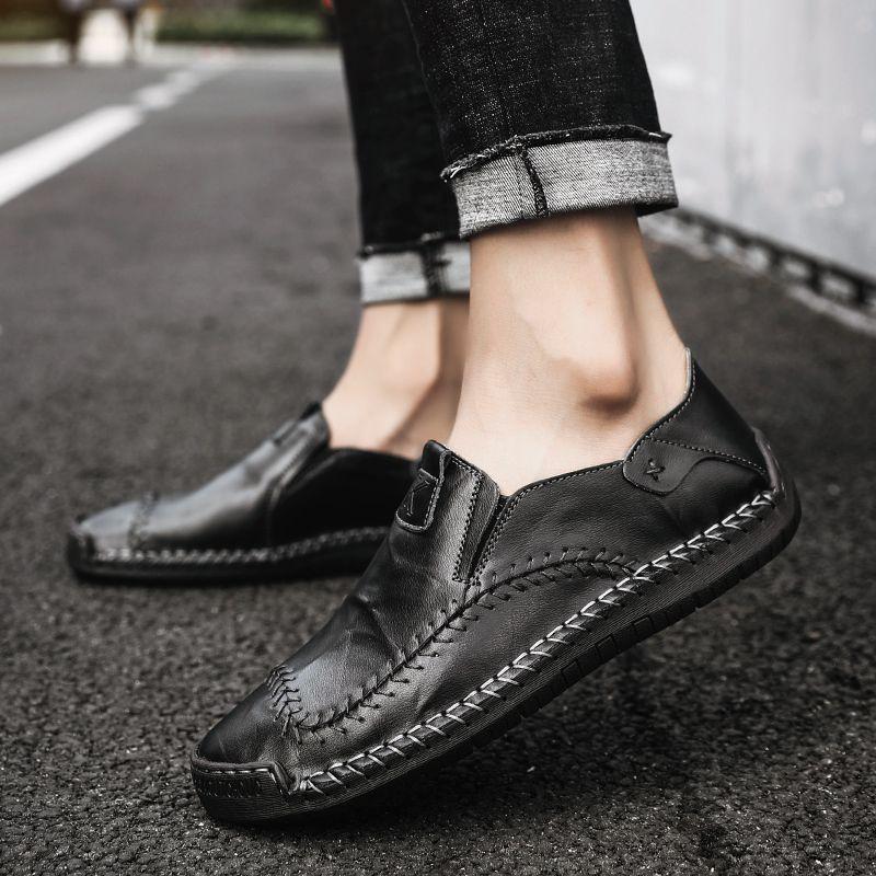 Nueva Plana Alta Calidad 2019 Mocasines Hombres De Zapatos Conducción Casuales Cómodos Moda Cuero 8nwXOk0P