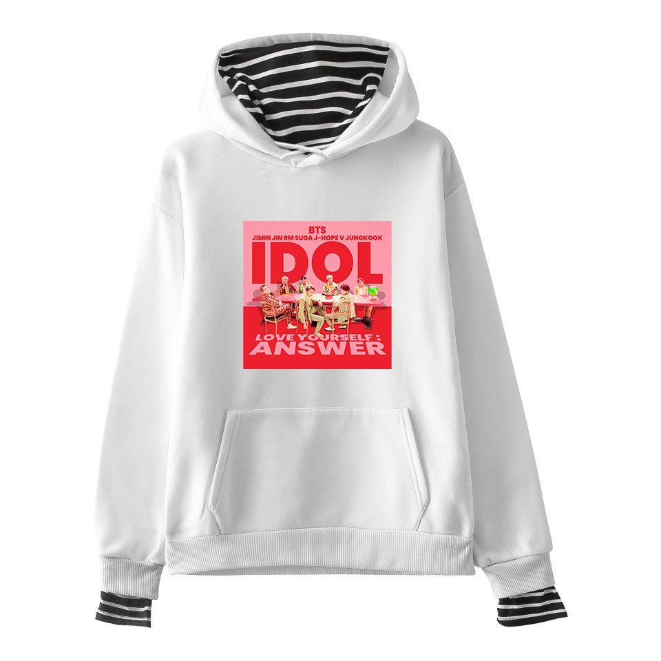 3c2707c25 2019 BTS IDOL Bangtan Boys Kpop Fashion Fake Two Piece Hoodies Women ...