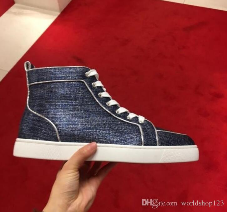 9d2dc0862851 France Young Man Skate Shoes Red Sole Designer With Blue Cowboy Red ...