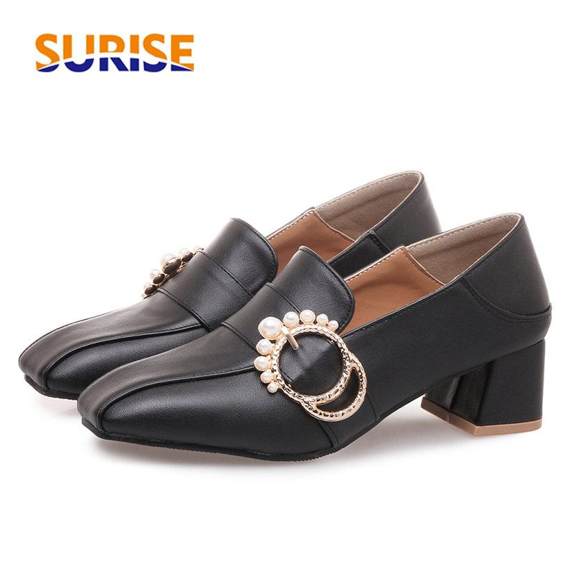Pearl Women Loafers Med Block Heel Square Toe Pumps Black White PU Buckle Slip-on Oxfords Casual Party Office British Lady Shoes