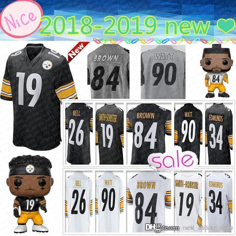 newest f7982 53d32 Pittsburgh Steeler 84 Antonio Brown Jersey 90 T.J. Watt 19 Juju  Smith-Schuster 78 Alejandro Villanueva 50 Ryan Shazier new 2019 Mens Jerseys