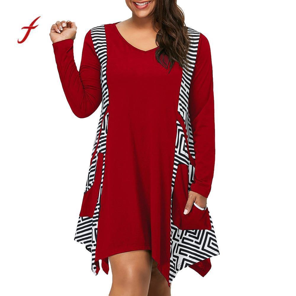 e5ae701ebf2 Women Dress Women Clothes 2019 Plus Size V-neck Long Sleeve Irregular Hem  Asymmetrical Mini Dress Pockets Roupa Feminina Y19012201 Online with   21.38 Piece ...