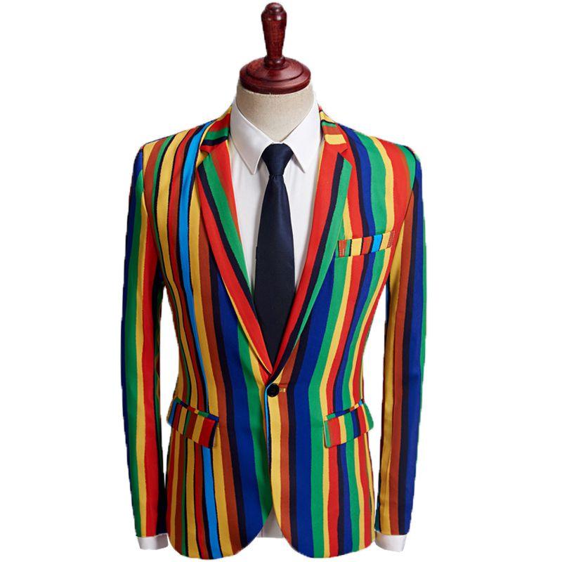 Man s Suit Slim Blazer Stripe Printing Man Show Serve Handsome Personality  Male Model Host Singer Dancer Performance Clothes