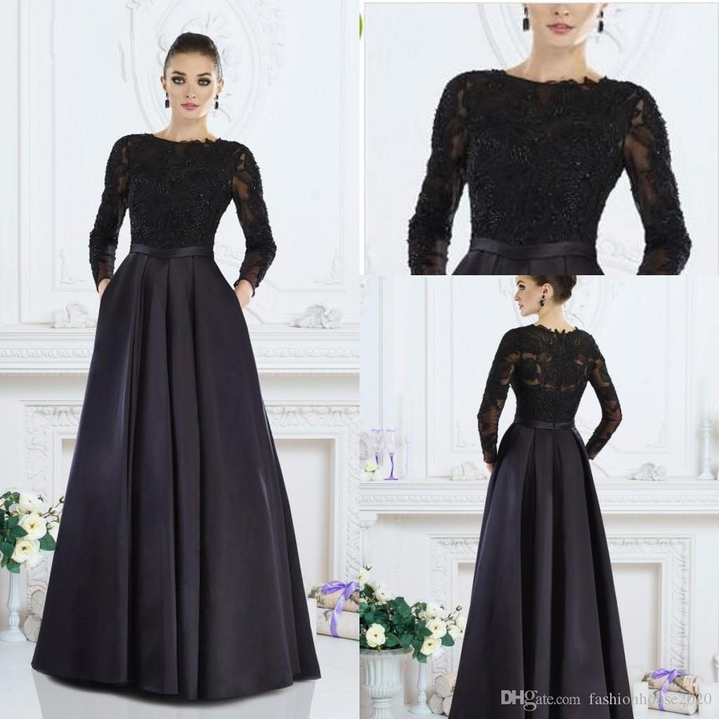 ba1839ce38f Black Long Sleeves Mother Of The Bride Dresses 2019 Jewel Neck Applique  Satin Plus Size Wedding Guest Dress Evening Wear Formal Party Gowns Plus  Size Mother ...