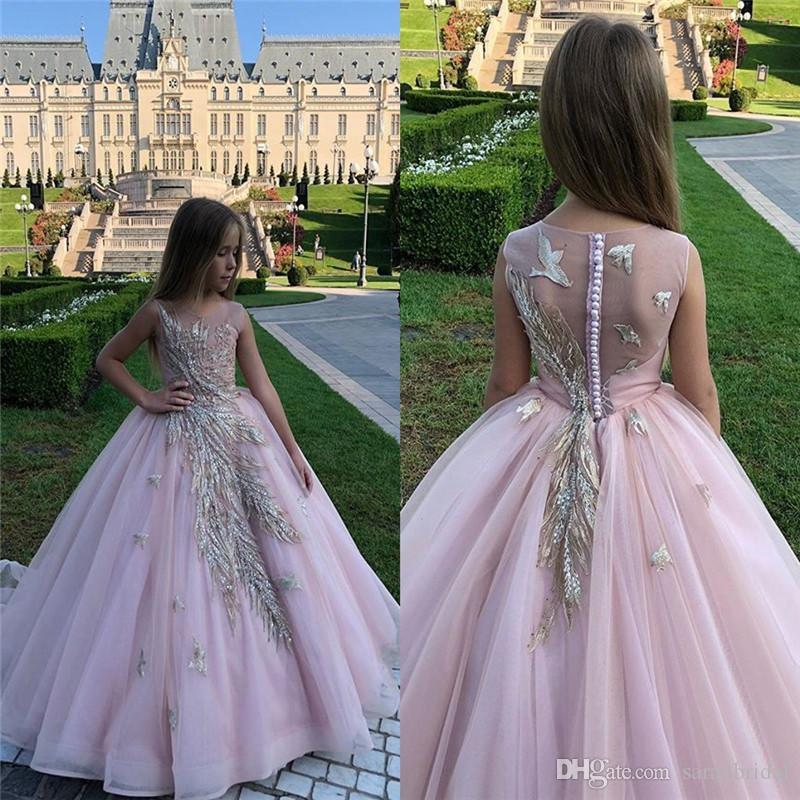 Jewel Tulle Princess Floor Length Girls Pageant Dresses Appliques vestidos de noiva Formal Custom Made Gowns
