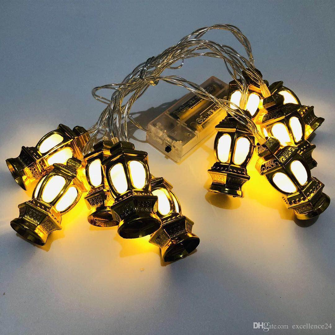 New Muslim Ramadan LED plastic gold oil lamp palace lamp decoration lights strung with Indian eid lights