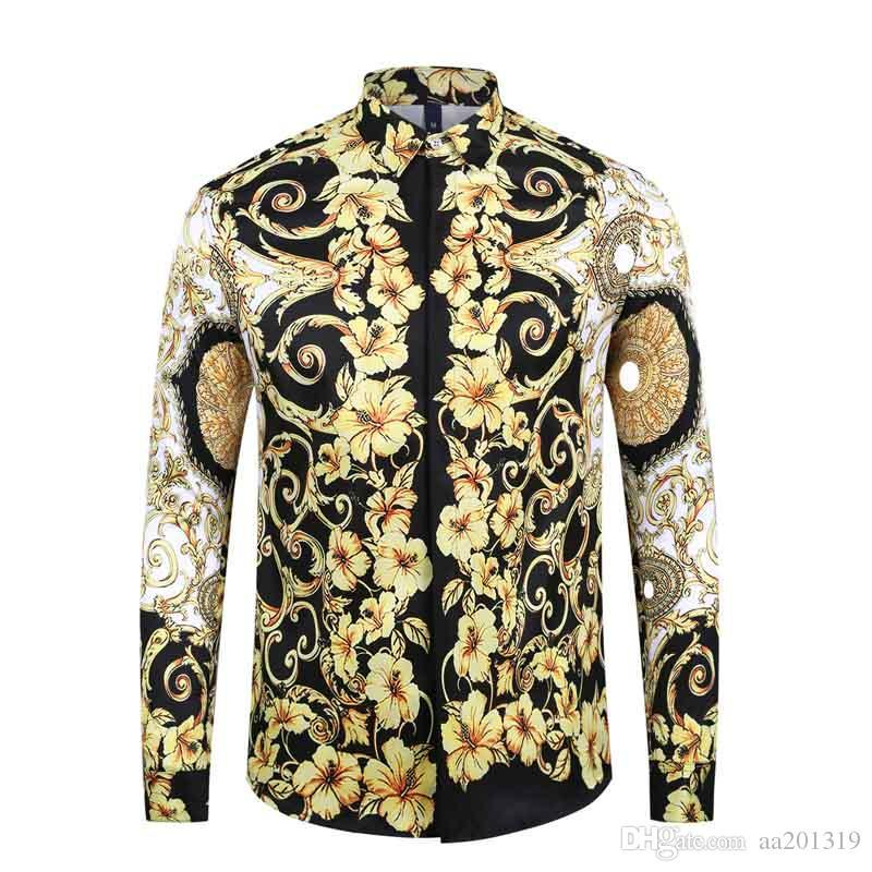 1717ss Brand New Men's Dress Shirts Fashion Harajuku Casual Shirt Men Medusa Black Gold Fancy 3D Print Slim Fit Shirts