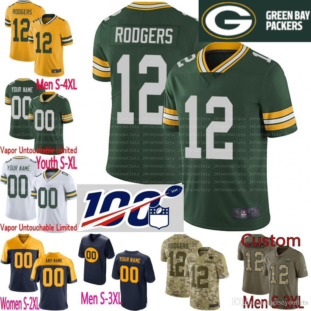 wholesale dealer 379fb fe78a 100th anniversary Men Youth women Aaron Rodgers Smith Alexander Brett  Favres Jimmy Graham Davante Adams Custom Packers Camo jersey 01